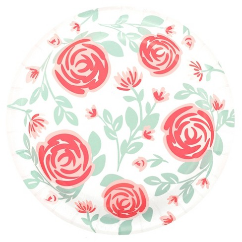 20ct Floral Disposable Dinner Plates - Spritz™ - image 1 of 2