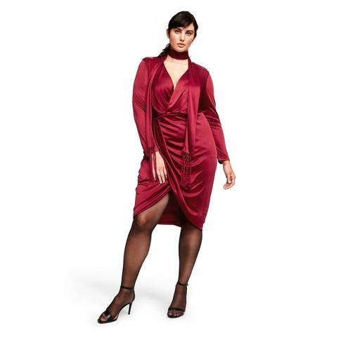 Women\'s Plus Size Long Sleeve Deep V-Neck Wrap Dress - Altuzarra for Target  Red