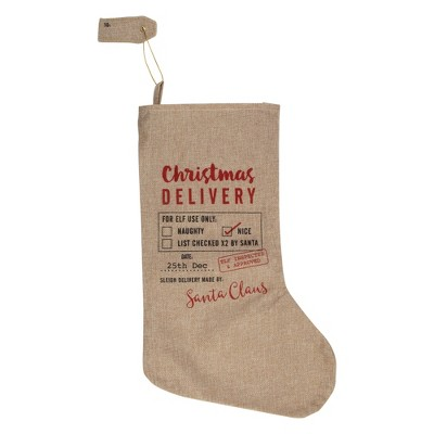 "Northlight 19"" Beige and Red ""Christmas Delivery"" Stocking With Hanging Tag"