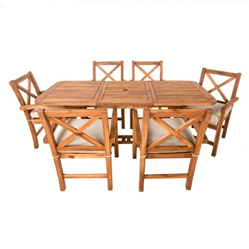7pc Acacia X - Back Patio Dining Set with Cushions - Brown - Saracina Home - image 1 of 4