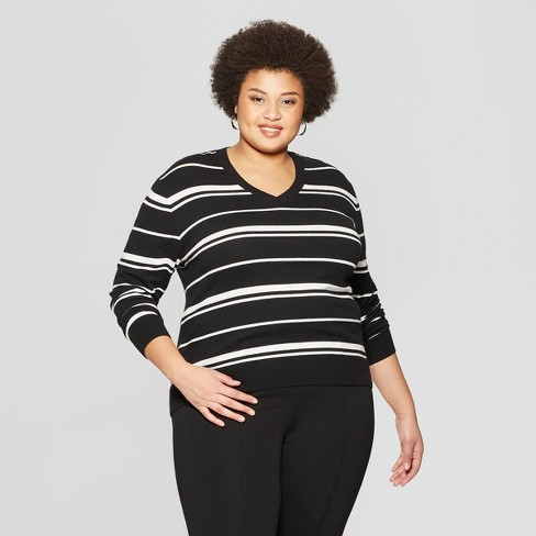 54a6ee2a905 Women s Plus Size Striped Long Sleeve V-Neck Pullover Sweater - Ava   Viv™  Black