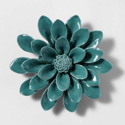 Porcelain Flower Decorative Wall Sculpture Blue 8 x 8  - Opalhouse™