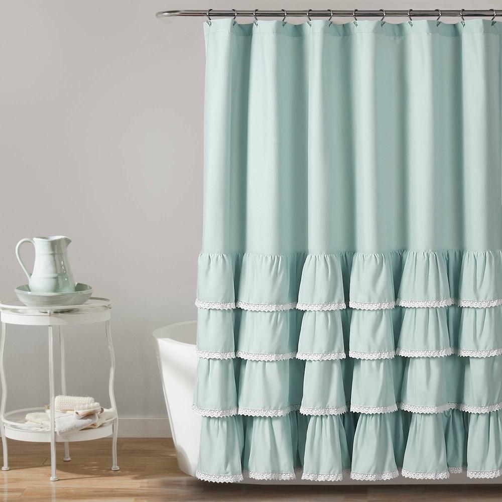 "Image of ""72""""x72"""" Ella Lace Ruffle Shower Curtain Blue - Lush Décor"""