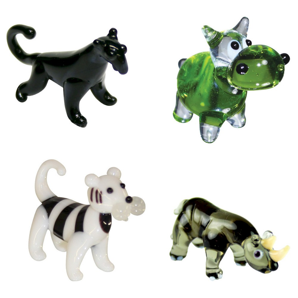 Looking Glass 4 - Pack - Panther, Hippo, Tiger, Rhino Mini Figurines