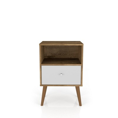 Liberty 1.0 Mid Century Modern Nightstand Rustic Brown/White - Manhattan Comfort