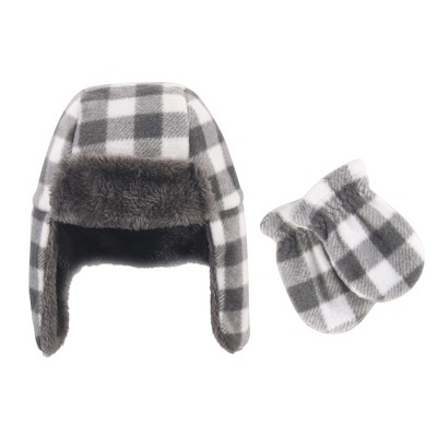 Hudson Baby Infant Fleece Trapper Hat and Mitten 2pc Set, Charcoal White Plaid