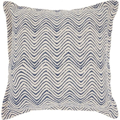 Life Styles Printed Waves Oversize Square Throw Pillow Indigo - Nourison