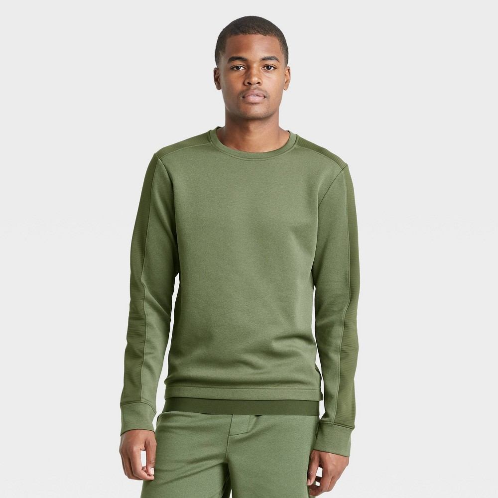 Men 39 S Tech Fleece Crewneck Pullover All In Motion 8482 Olive Green Xl