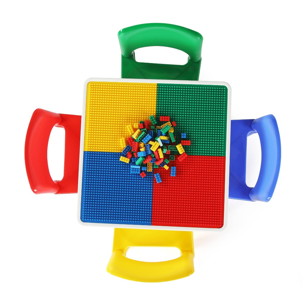 Image of 5pc 2 in 1 Square Plastic Activity Table and Chair Set - Humble Crew