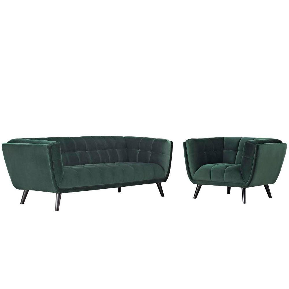 2pc Bestow Velvet Sofa and Armchair Set Modway
