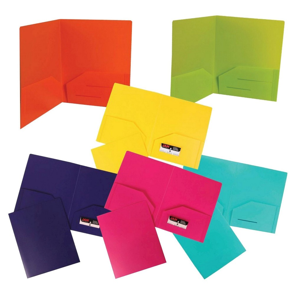 Image of 6pk 2 Pocket Heavy Duty Plastic Folder Multicolor Fashion - JAM Paper