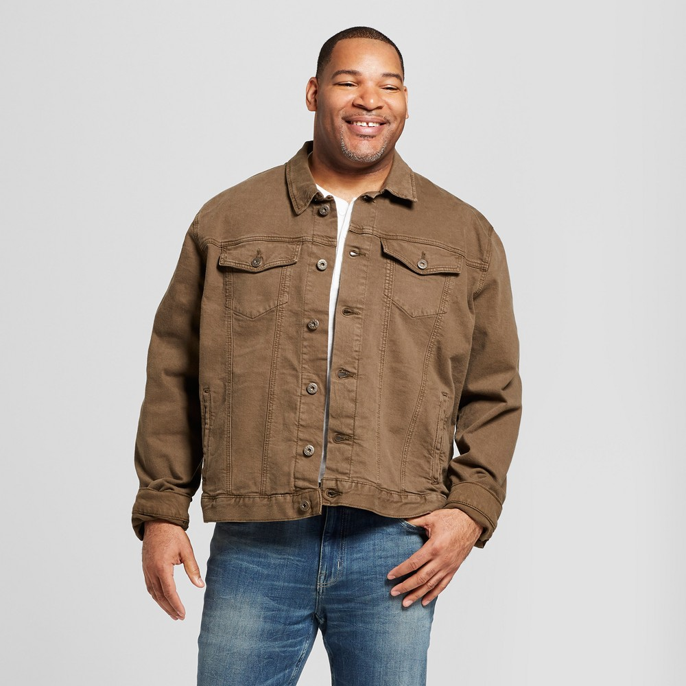Men's Big & Tall Trucker Denim Jacket Tavex Dynasty Kluber Without Sherpa Lining - Goodfellow & Co Brown 3XB