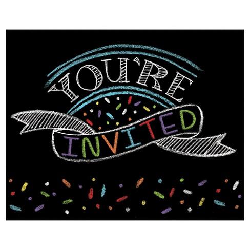 8ct Chalk Birthday Invitations Target