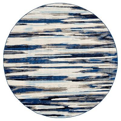 "8'6"" Round Multi Stripe Loomed Round Area Rugs Indigo - Weave & Wander"