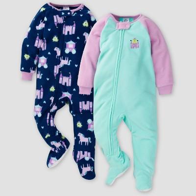 Gerber Baby Girls' Princess Blanket Sleeper Footed Pajama - Blue/Purple 3M