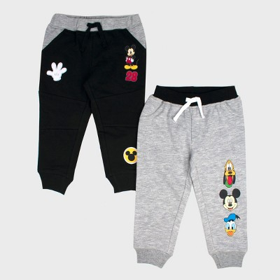 Toddler Boys' Disney Mickey Mouse & Friends Mickey Mouse 2pk Jogger Pants - Gray 18M