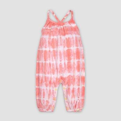 Burt's Bees Baby® Baby Girls' Tie Dye Bubble Jumpsuits - Light Pink 6-9M