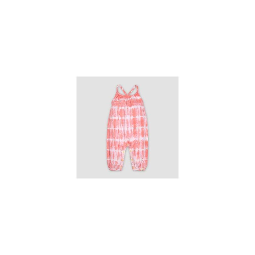 Burt's Bees Baby Baby Girls' Tie Dye Bubble Jumpsuits - Light Pink 12M
