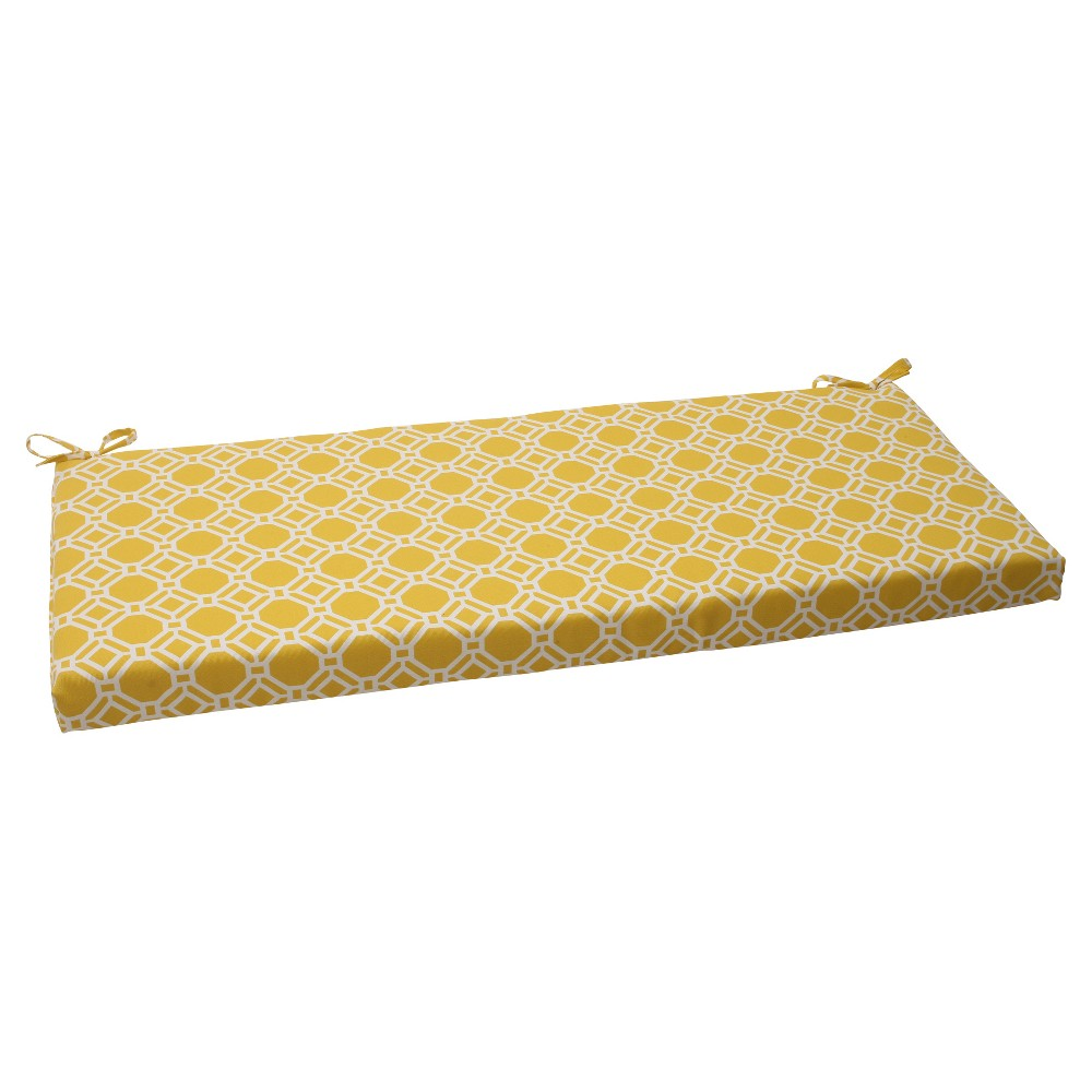 Outdoor Bench Cushion - Yellow/White Rossmere Geometric