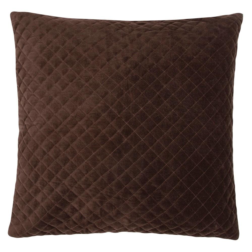 "Image of ""Lavish Velvet Throw Pillow Brown (22""""x22"""") - Jaipur"""