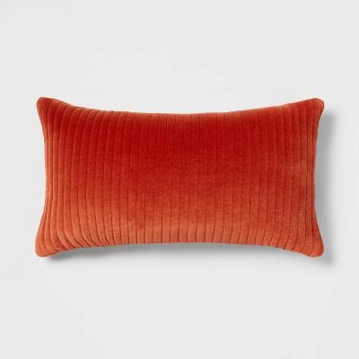 Oversized Quilted Cotton Velvet Lumbar Throw Pillow Orange - Threshold™