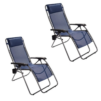 Timber Ridge FC-630-68080 Zero Gravity Locking Outdoor Patio Sun Lounger Recliner Lounge Chair with Cupholder, Blue (2 Pack)
