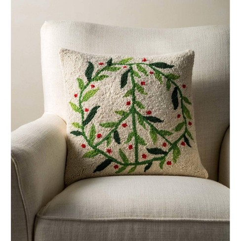 Peace Sign Hand-Hooked Holiday Pillow - Vivaterra - image 1 of 1