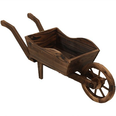 "35 X 10 X 11"" Wooden Decorative Wheelbarrow Planter   Sunnydaze Decor by Sunnydaze Decor"