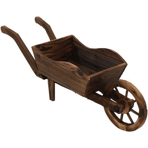 "35 x 10 x 11"" Wooden Decorative Wheelbarrow Planter - Sunnydaze Decor - image 1 of 4"