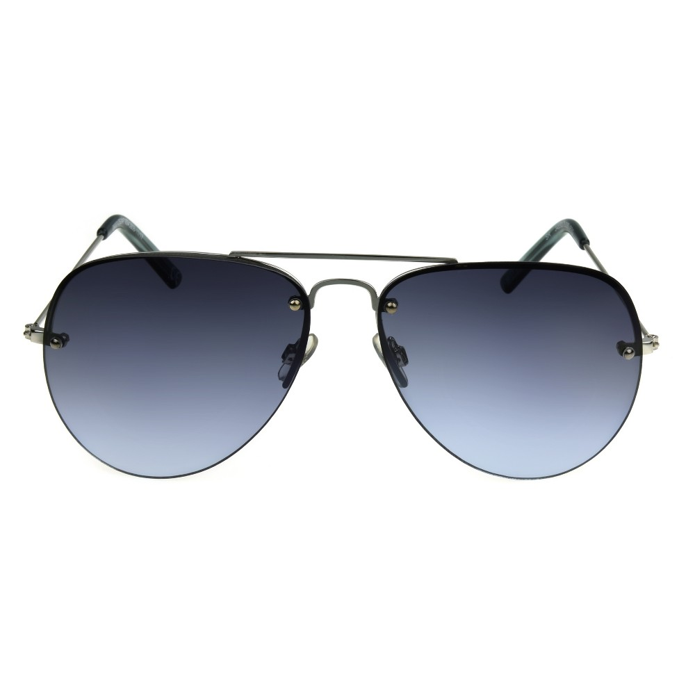 Women's Aviator Sunglasses with Blue Smoke Lenses - A New Day Silver