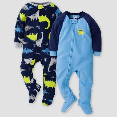 Gerber Baby Boys' Dino Blanket Sleeper Footed Pajama - Blue 3M