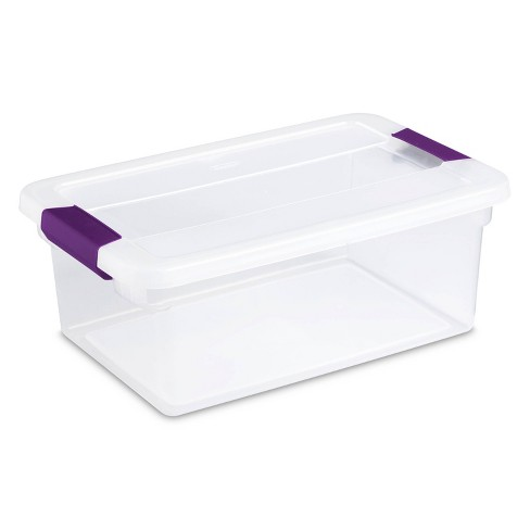 Sterilite 15qt Clear View Storage Bin with Latch Purple - image 1 of 4