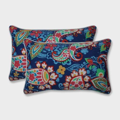 2pk Paisley Party Rectangular Throw Pillows Blue - Pillow Perfect - image 1 of 2