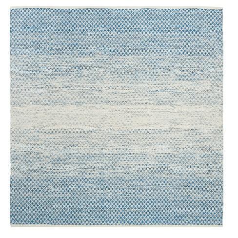Blue/Ivory Geometric Flatweave Woven