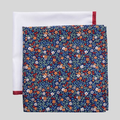 Men's Charles Floral Print Pocket Square Set - Goodfellow & Co™ Blue One Size