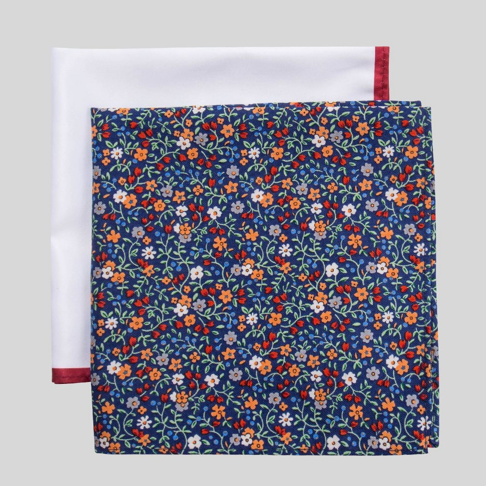 Image of Men's Charles Floral Print Pocket Square Set - Goodfellow & Co Blue One Size, Men's