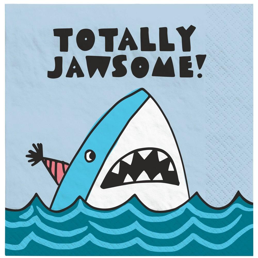 Image of 20ct Shark Lunch Napkin - Spritz