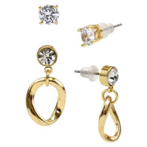 Crystal Stud and Crystal with Circle Drop Duo Earring - Gold - image 1 of 1