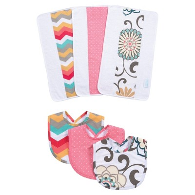 Waverly Baby® by Trend Lab® Pom Pom Play Bib and Burp Cloth Set - Rose 6pc