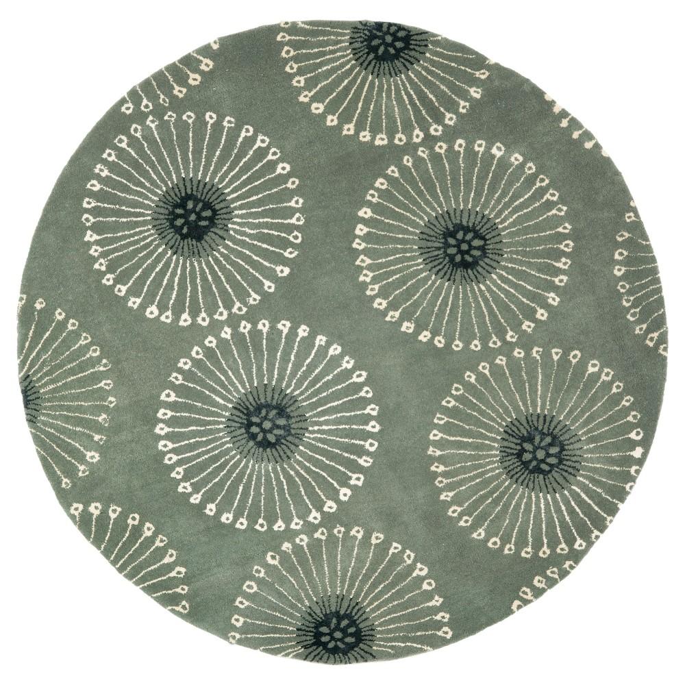 Gray/Ivory Botanical Tufted Round Area Rug - (6' Round) - Safavieh