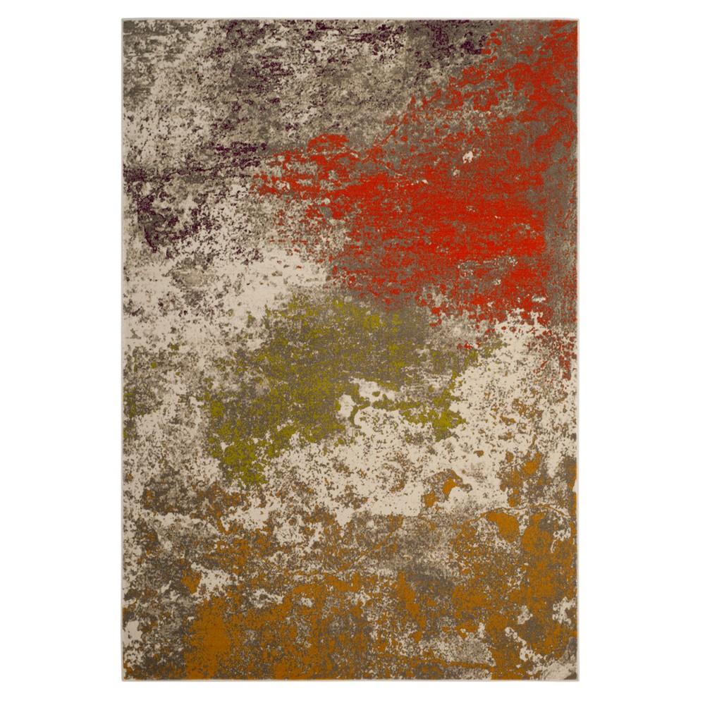 Gray/Orange Splatter Loomed Area Rug 6'X9' - Safavieh, Orange Gray