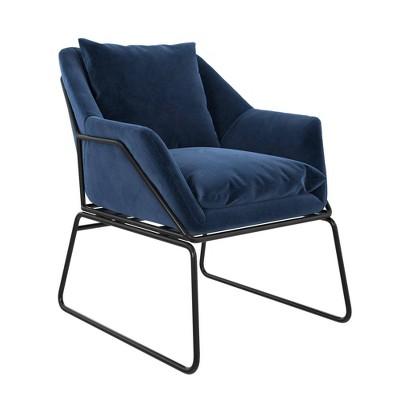 Alisa Velvet Accent Chair Blue - Room & Joy