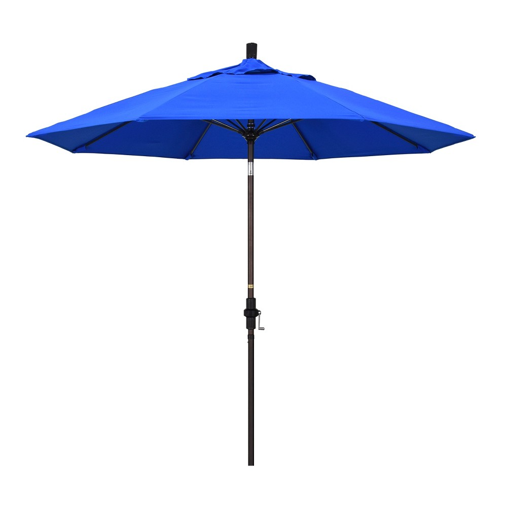 9' Aluminum Collar Tilt Crank Patio Umbrella - Pacific Blue Sunbrella