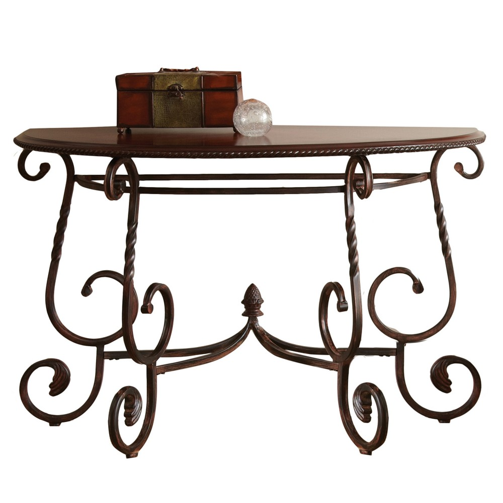 Crowley Sofa Table Wood and Metal Cherry - Steve Silver