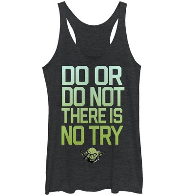 Women's Star Wars Yoda Try Mantra Racerback Tank Top