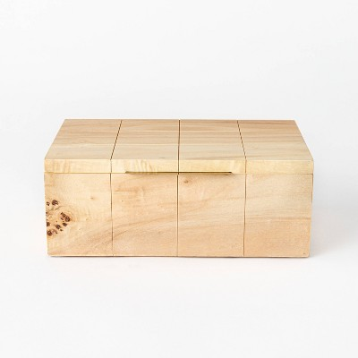 """9"""" x 3.2"""" Decorative Burled Wooden Box Natural - Threshold™ designed with Studio McGee"""