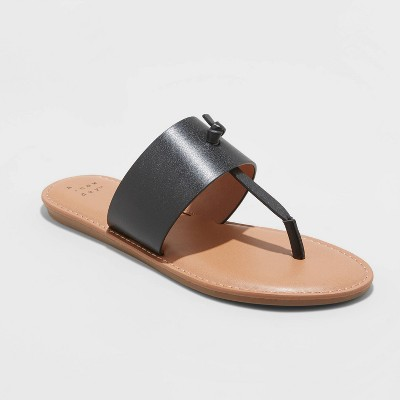 Women's Amelia Faux Leather Slide Sandals - A New Day™ Black 9