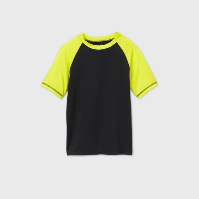 Boys' Fortnite Raglan Sleeve Rash Guard Swim Shirt - Black/Yellow