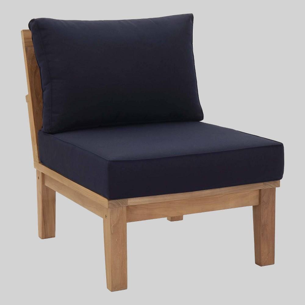 Marina Armless Outdoor Patio Teak Sofa Navy (Blue) - Modway