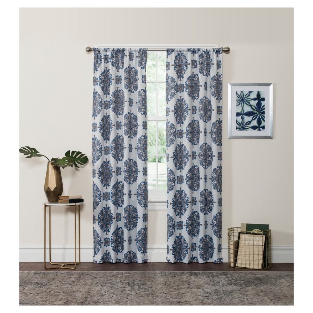Olivia Thermaweave Blackout Curtain Panel Blue (37
